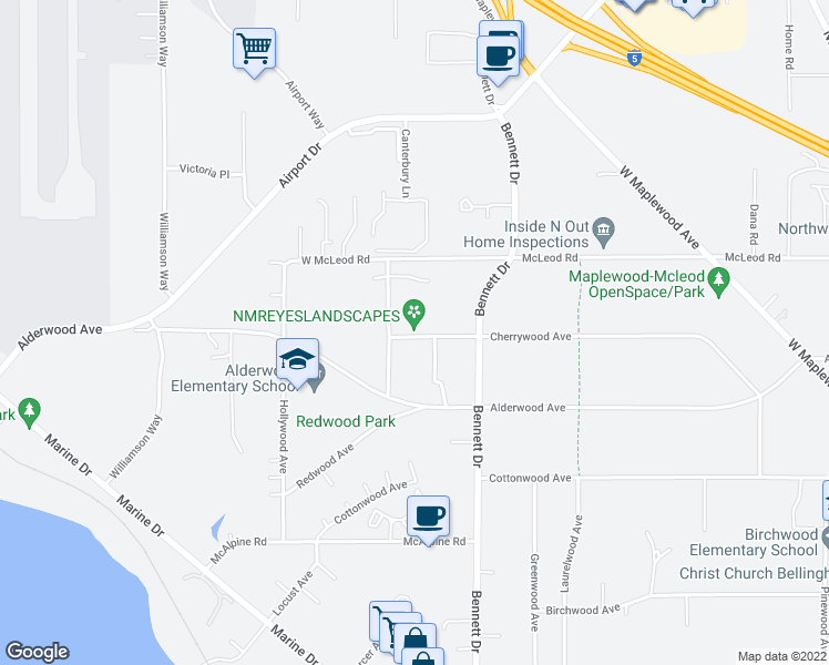 map of restaurants, bars, coffee shops, grocery stores, and more near 3466 Willowwood Avenue in Bellingham