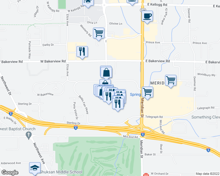 map of restaurants, bars, coffee shops, grocery stores, and more near 40 Bellis Fair Parkway in Bellingham