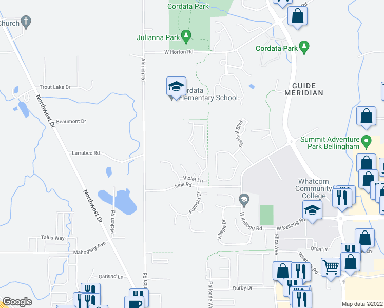 map of restaurants, bars, coffee shops, grocery stores, and more near 4355 Fuchsia Drive in Bellingham