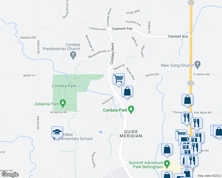 map of restaurants, bars, coffee shops, grocery stores, and more near 4600-4602 Cordata Parkway in Bellingham