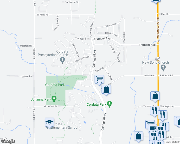 map of restaurants, bars, coffee shops, grocery stores, and more near 4625 Cordata Parkway in Bellingham