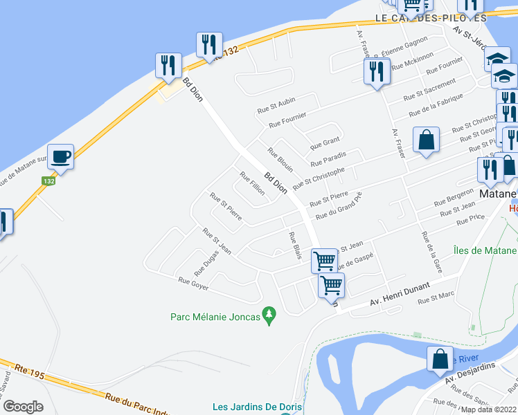 map of restaurants, bars, coffee shops, grocery stores, and more near in Matane