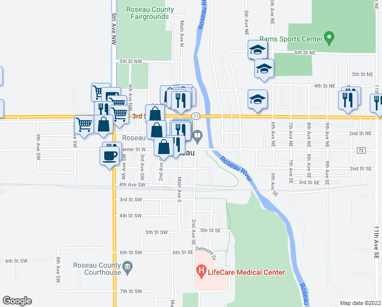 map of restaurants, bars, coffee shops, grocery stores, and more near 114 Center Street East in Roseau