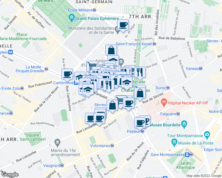 map of restaurants, bars, coffee shops, grocery stores, and more near 9-11 Rue Pérignon in Paris