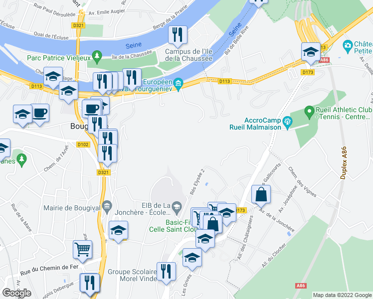 map of restaurants, bars, coffee shops, grocery stores, and more near Le Parc de la Jonchère in Bougival