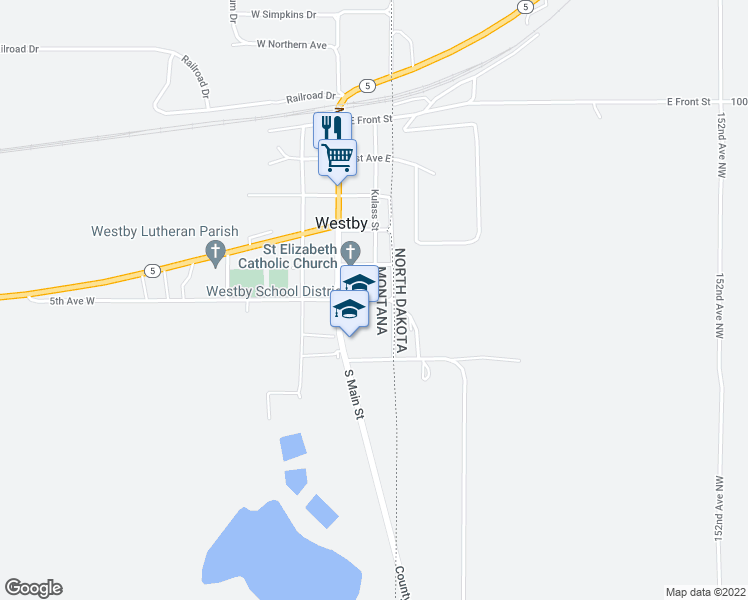 map of restaurants, bars, coffee shops, grocery stores, and more near State Line Road in Westby
