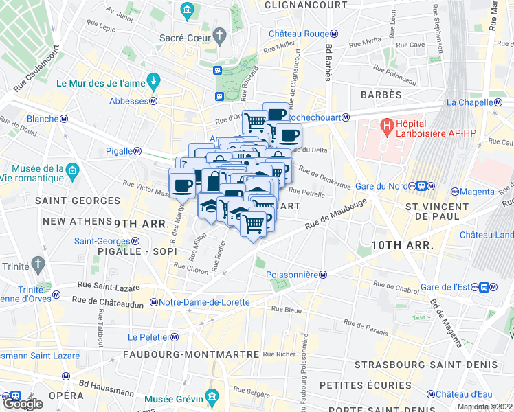 map of restaurants, bars, coffee shops, grocery stores, and more near 60 Rue Rodier in Paris