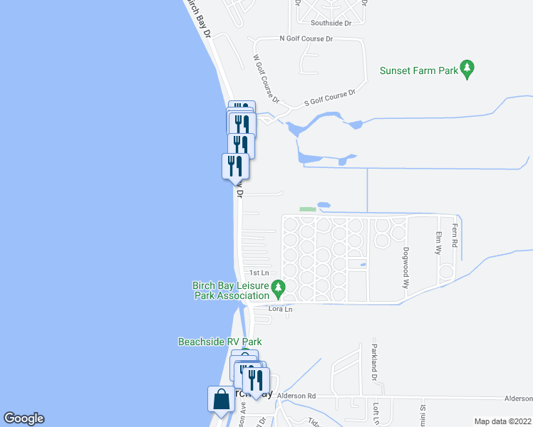 map of restaurants, bars, coffee shops, grocery stores, and more near 7806 Birch Bay Drive in Blaine