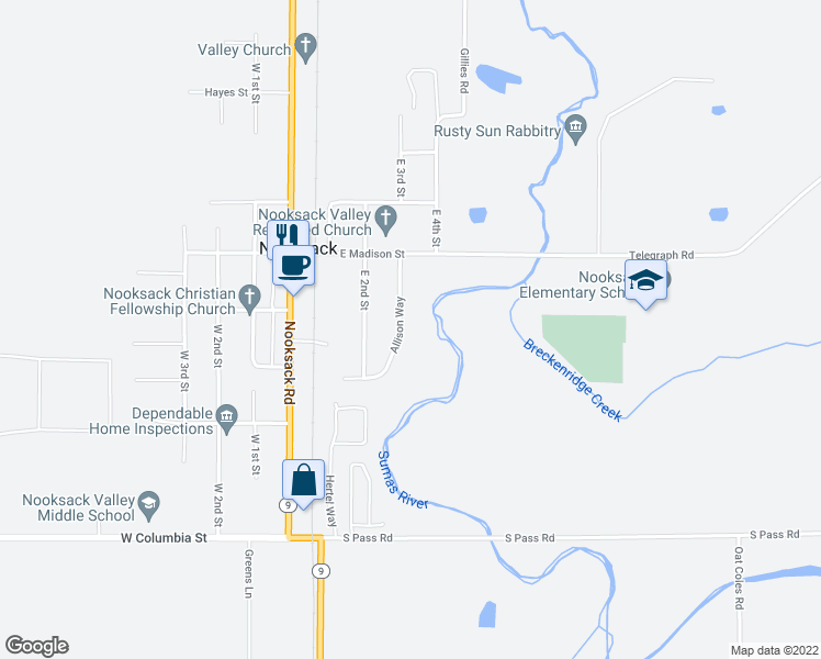 map of restaurants, bars, coffee shops, grocery stores, and more near 410 Allison Way in Nooksack