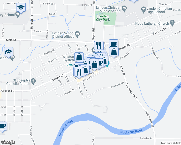 map of restaurants, bars, coffee shops, grocery stores, and more near in Lynden