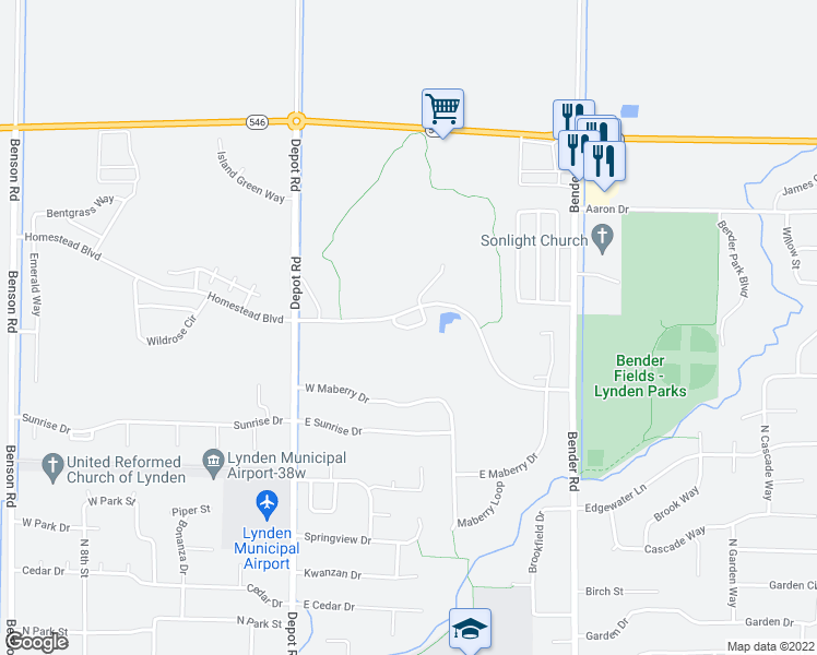 map of restaurants, bars, coffee shops, grocery stores, and more near 810 Twin Sisters Loop in Lynden