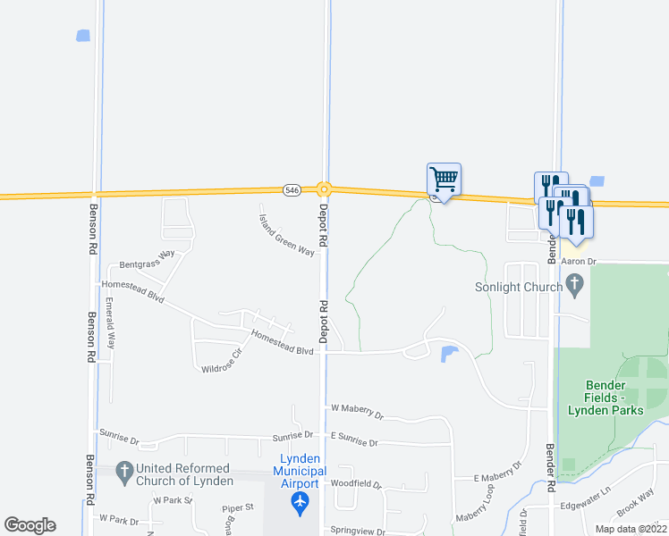 map of restaurants, bars, coffee shops, grocery stores, and more near 8872 Depot Road in Lynden