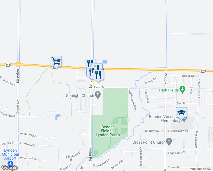 map of restaurants, bars, coffee shops, grocery stores, and more near 817 Aaron Drive in Lynden