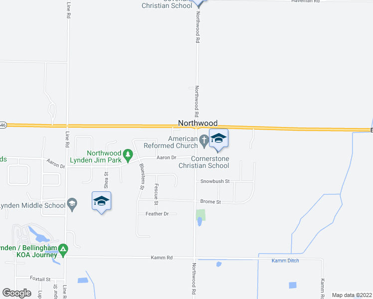 map of restaurants, bars, coffee shops, grocery stores, and more near 2073 Aaron Drive in Lynden