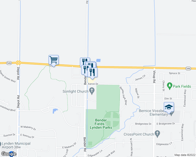 map of restaurants, bars, coffee shops, grocery stores, and more near 801 Aaron Drive in Lynden