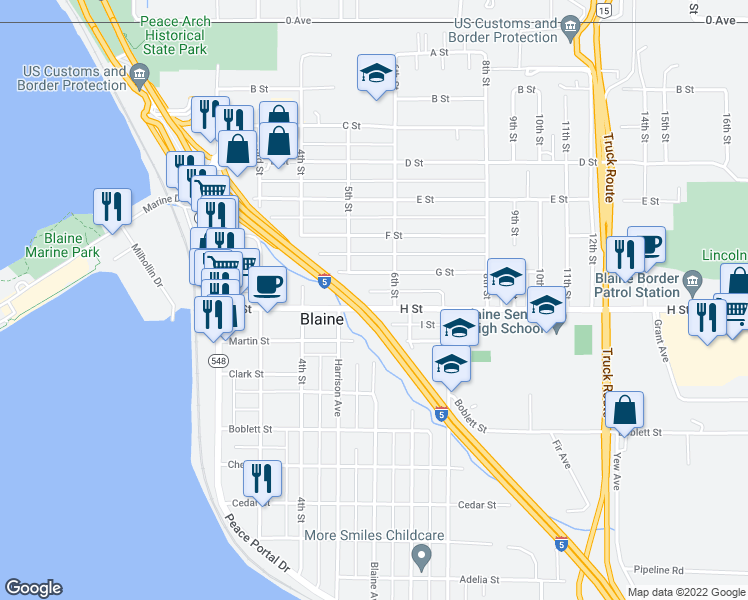 map of restaurants, bars, coffee shops, grocery stores, and more near 562 H Street in Blaine