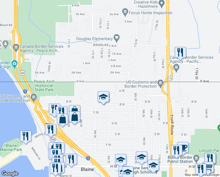 map of restaurants, bars, coffee shops, grocery stores, and more near 610 A Street in Blaine