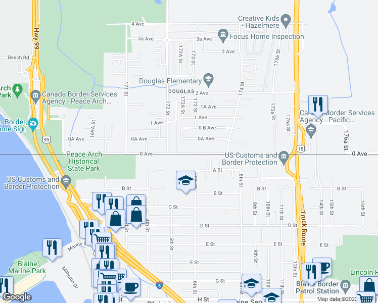 map of restaurants, bars, coffee shops, grocery stores, and more near 17267 0 Avenue in Surrey