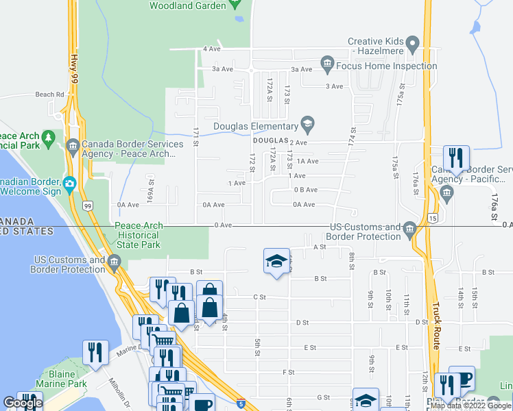 map of restaurants, bars, coffee shops, grocery stores, and more near 18 172 Street in Surrey