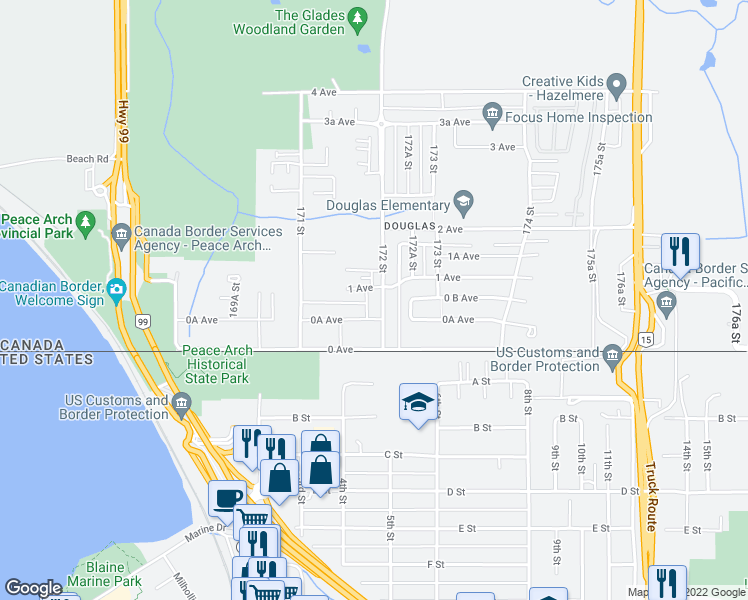 map of restaurants, bars, coffee shops, grocery stores, and more near 79 172 Street in Surrey
