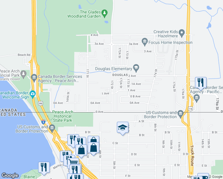 map of restaurants, bars, coffee shops, grocery stores, and more near 127 172 Street in Surrey