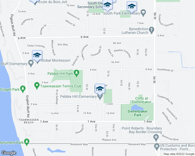 map of restaurants, bars, coffee shops, grocery stores, and more near 350 52A Street in Delta