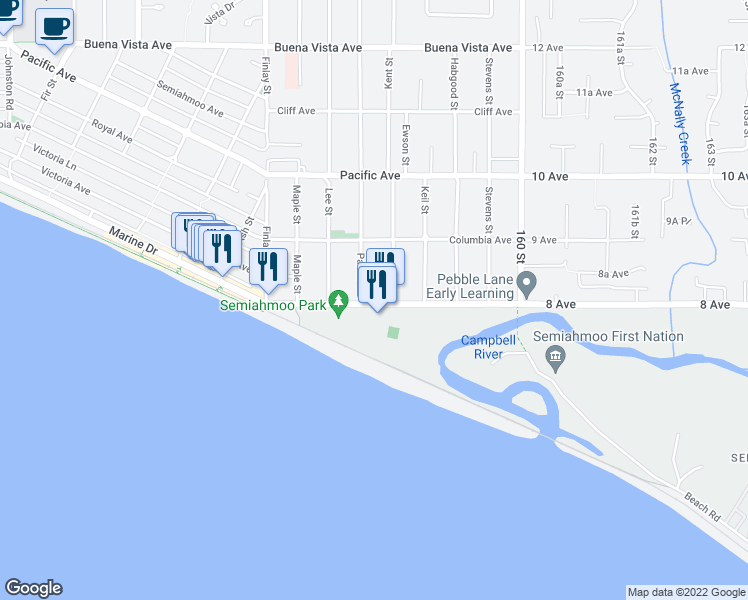 map of restaurants, bars, coffee shops, grocery stores, and more near 15777 Marine Drive in White Rock