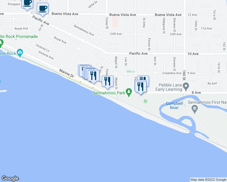 map of restaurants, bars, coffee shops, grocery stores, and more near 15621 Marine Drive in White Rock