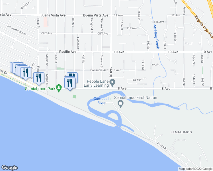 map of restaurants, bars, coffee shops, grocery stores, and more near 15971 Marine Drive in White Rock