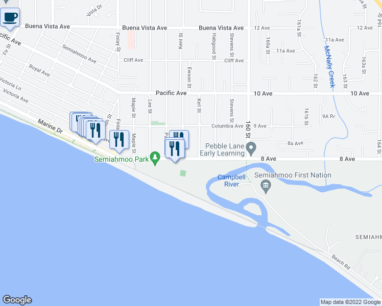 map of restaurants, bars, coffee shops, grocery stores, and more near 15809 Marine Drive in White Rock