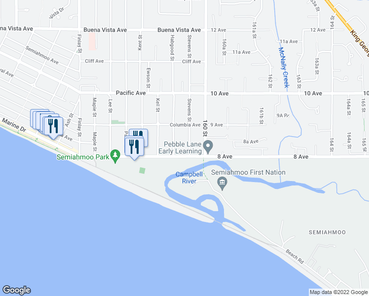 map of restaurants, bars, coffee shops, grocery stores, and more near 829 Stevens Street in White Rock