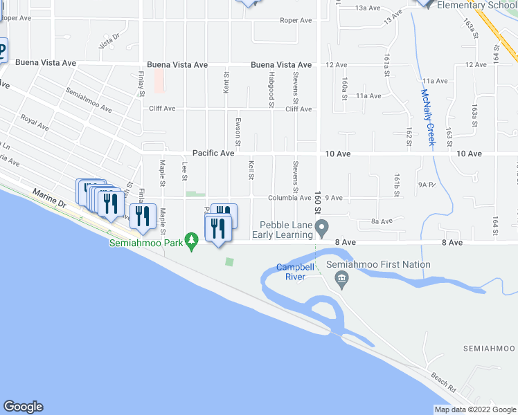 map of restaurants, bars, coffee shops, grocery stores, and more near 872 Keil Street in White Rock