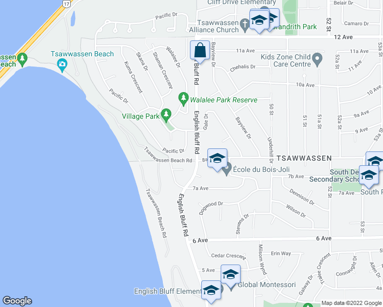 map of restaurants, bars, coffee shops, grocery stores, and more near 847 Pacific Drive in Delta