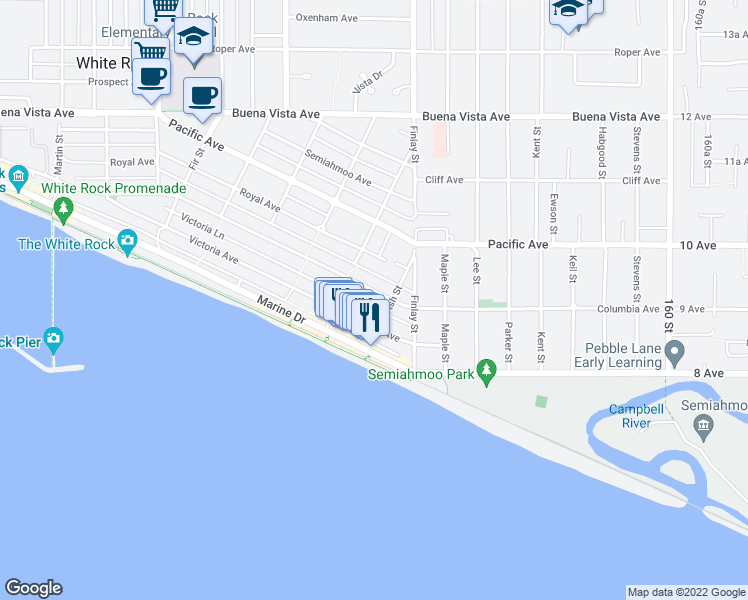 map of restaurants, bars, coffee shops, grocery stores, and more near 15542 Columbia Avenue in White Rock
