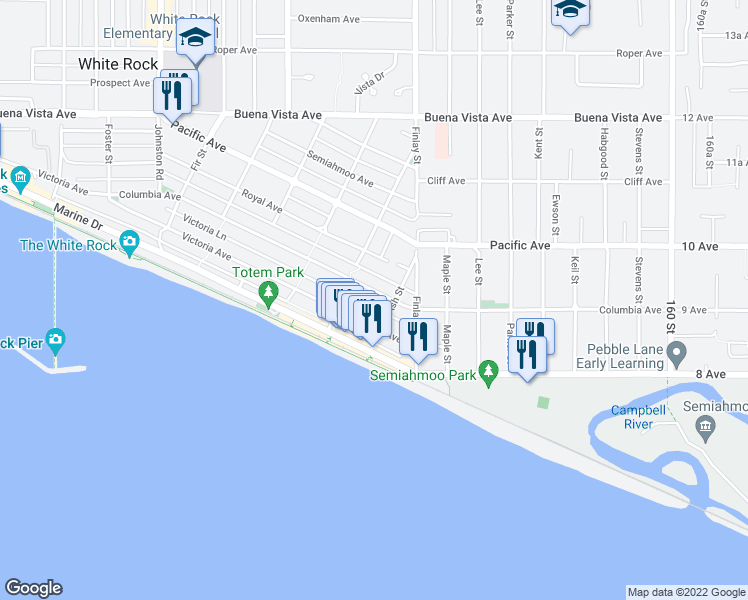 map of restaurants, bars, coffee shops, grocery stores, and more near 15540 Columbia Avenue in White Rock