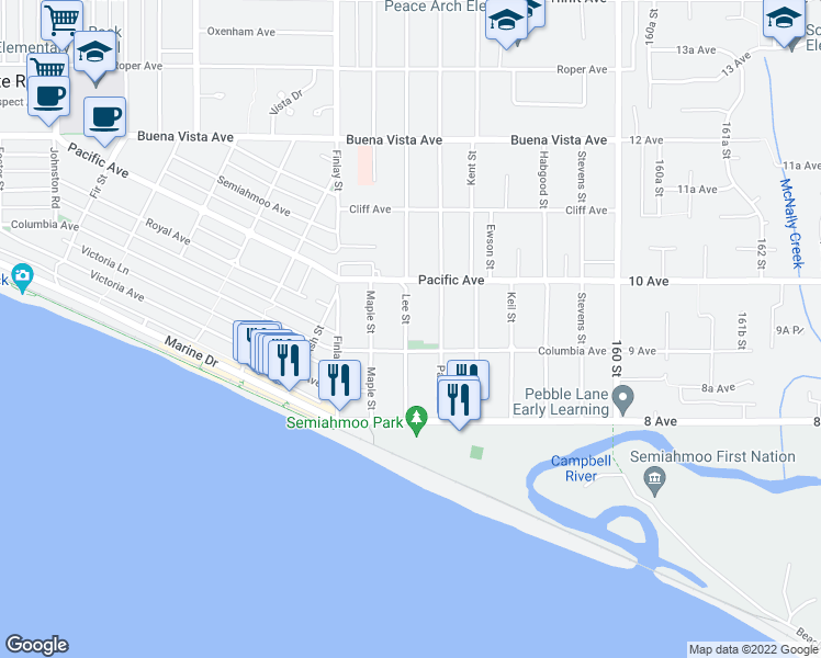 map of restaurants, bars, coffee shops, grocery stores, and more near 932 Lee Street in White Rock