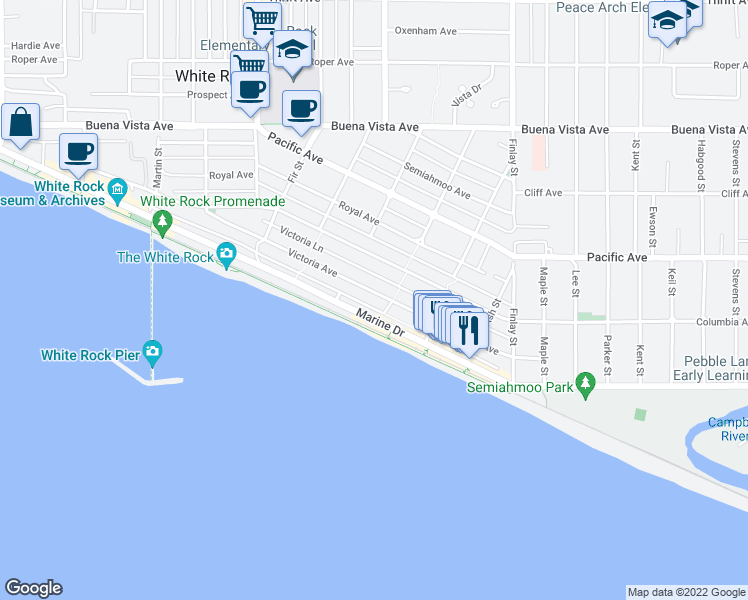 map of restaurants, bars, coffee shops, grocery stores, and more near 15376 Victoria Avenue in White Rock