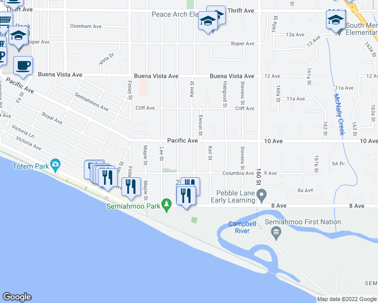 map of restaurants, bars, coffee shops, grocery stores, and more near 971 Kent Street in White Rock