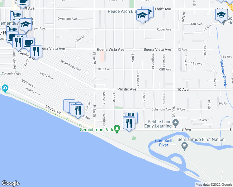 map of restaurants, bars, coffee shops, grocery stores, and more near 976 Lee Street in White Rock