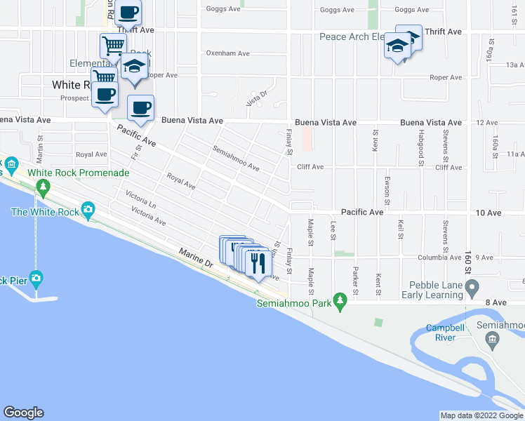map of restaurants, bars, coffee shops, grocery stores, and more near 1020 Balsam Street in White Rock