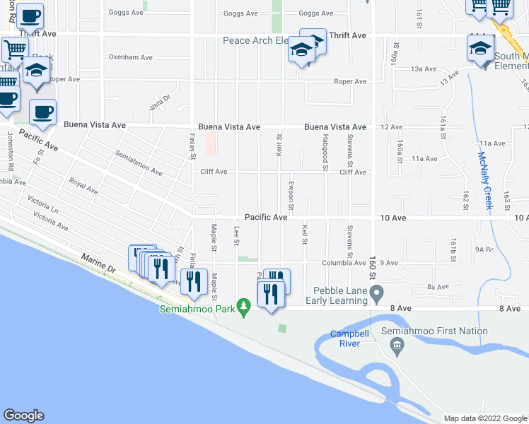 map of restaurants, bars, coffee shops, grocery stores, and more near 15767 Pacific Avenue in White Rock