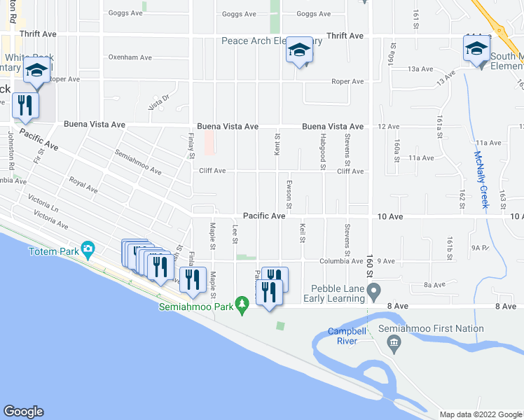map of restaurants, bars, coffee shops, grocery stores, and more near 15765 Pacific Avenue in White Rock
