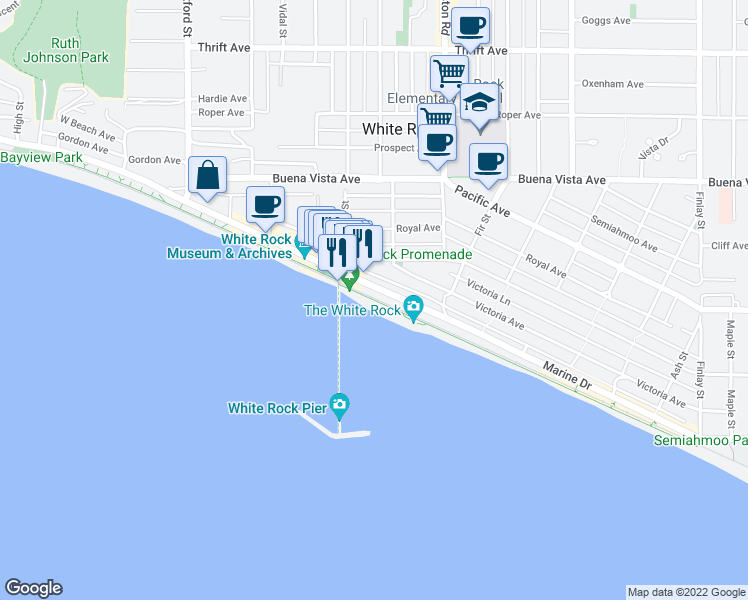 map of restaurants, bars, coffee shops, grocery stores, and more near White Rock Promenade in White Rock