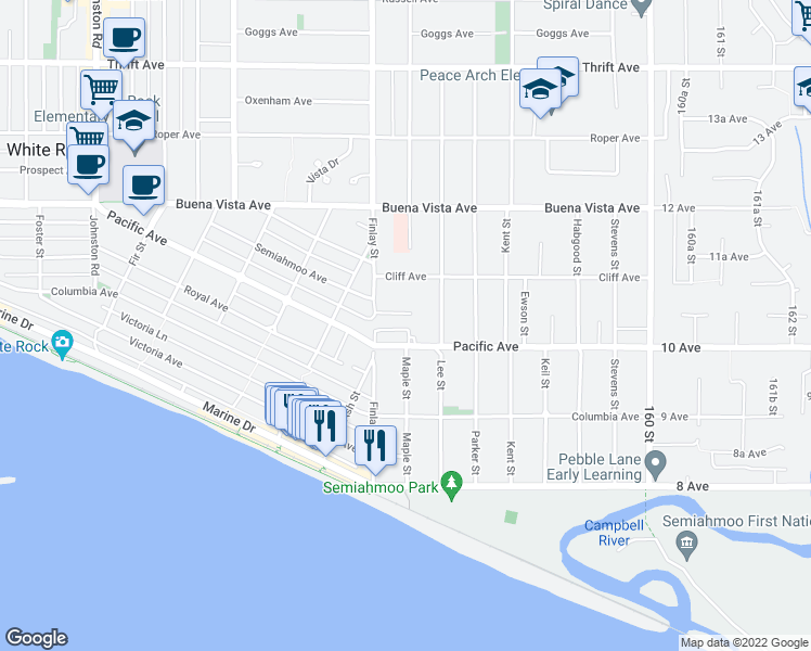 map of restaurants, bars, coffee shops, grocery stores, and more near 15643 Moffat Lane in White Rock