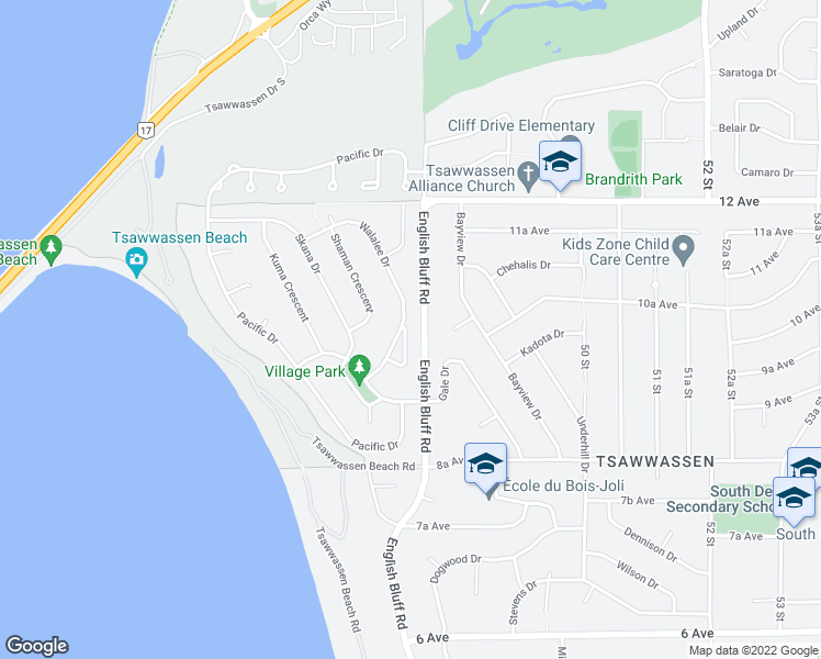 map of restaurants, bars, coffee shops, grocery stores, and more near 1010 Walalee Drive in Delta