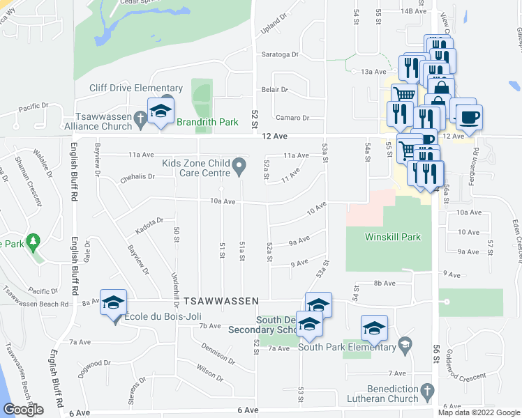 map of restaurants, bars, coffee shops, grocery stores, and more near 1021 52A Street in Delta