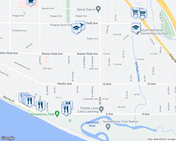 map of restaurants, bars, coffee shops, grocery stores, and more near 15908 Cliff Avenue in White Rock