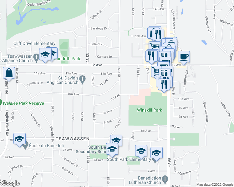map of restaurants, bars, coffee shops, grocery stores, and more near 1061 53A Street in Delta