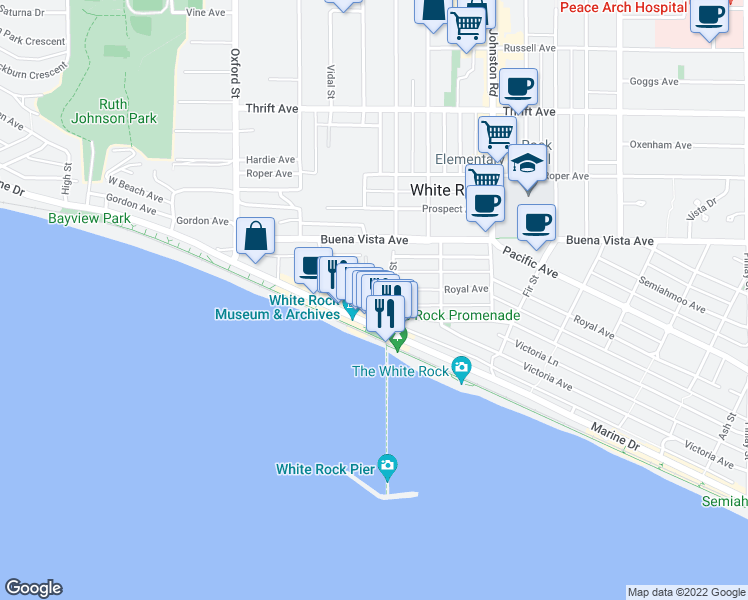 map of restaurants, bars, coffee shops, grocery stores, and more near 15025 Victoria Avenue in White Rock