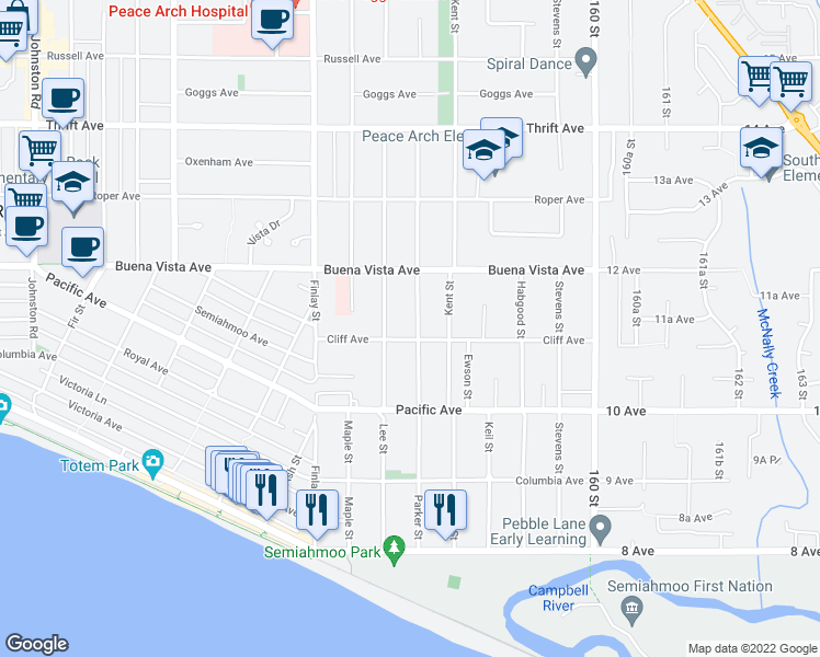 map of restaurants, bars, coffee shops, grocery stores, and more near 1117 Parker Street in White Rock